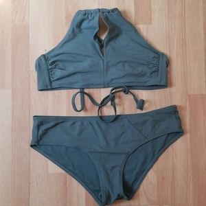 Womens two piece sage green swim suit size L